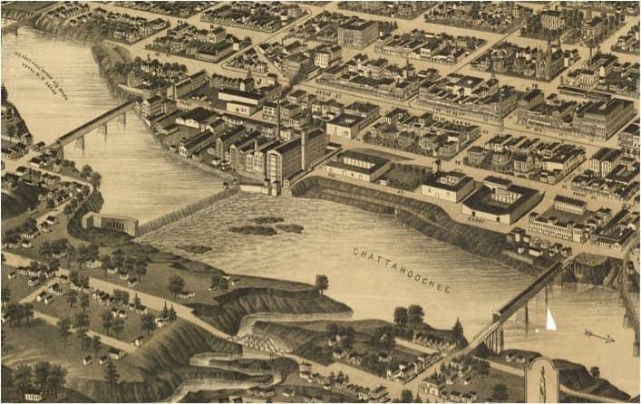 Columbus affacciata sul fiume Chattahoochee