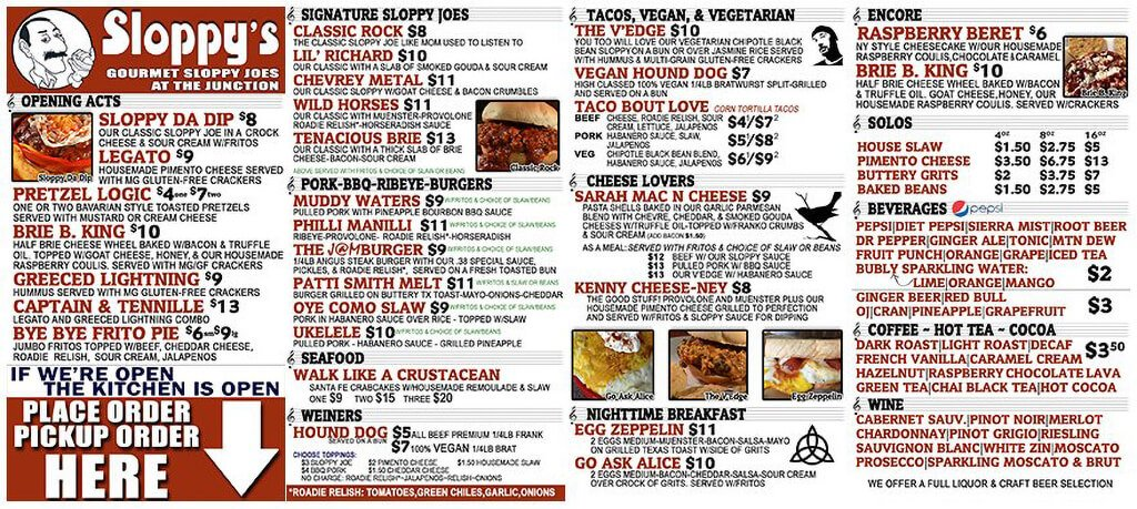 Sloppy Joe Menu