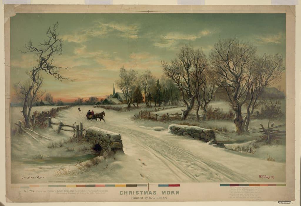 dipinto di W.C. Bauer- mattina di Natale
