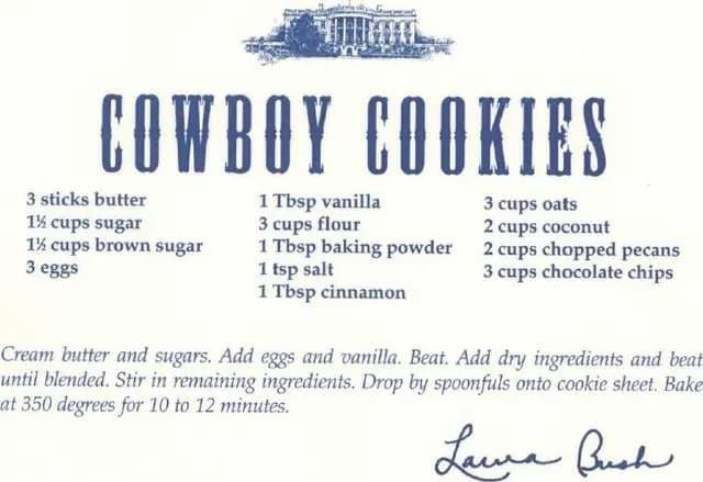 cowboy cookies Laura Bush