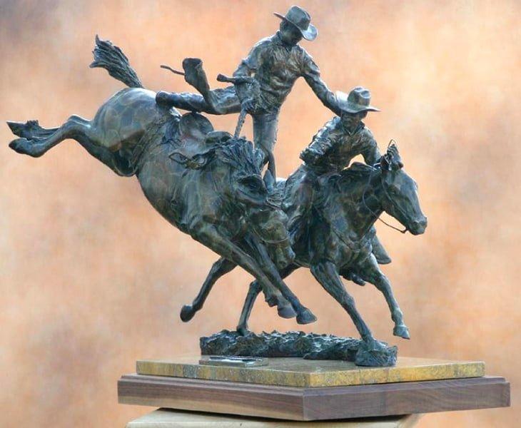 In the Nick of Time - Western Art Bronze Sculpture - Burkhart Bronze